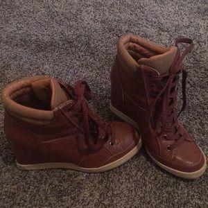 "Brown ""leather"" sneaker wedges"